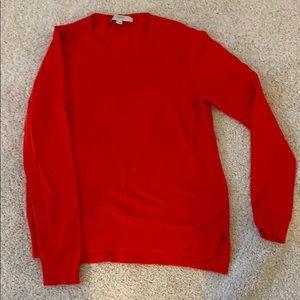 Loft red cotton sweater-light-waffle pattern